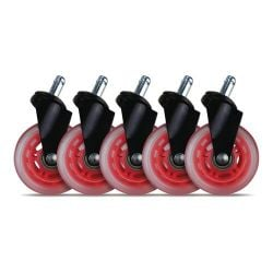 """L33t Rubber Casters 3"""", Red"""